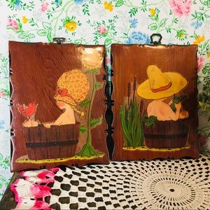 Vintage Set of 2 Wooden Plaques Kids w/ Animals